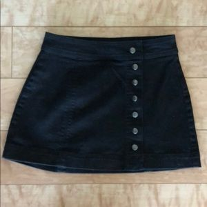 Free People Black Denim Button Front Skirt